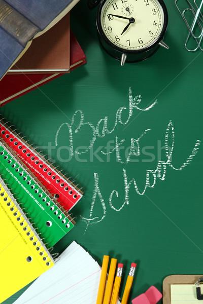 Zdjęcia stock: Powrót · do · szkoły · kopia · przestrzeń · drewna · książek · edukacji · piśmie