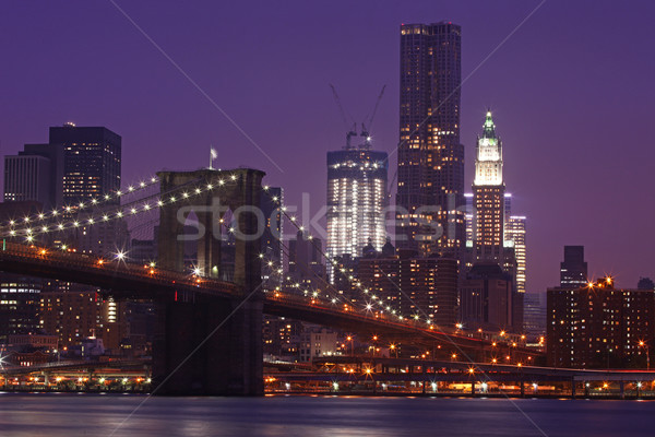 Brooklyn Bridge and Manhattan Skyline At Night NYC Stock photo © tobkatrina