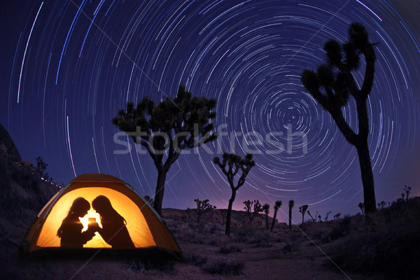 Enfants camping nuit tente star nature Photo stock © tobkatrina