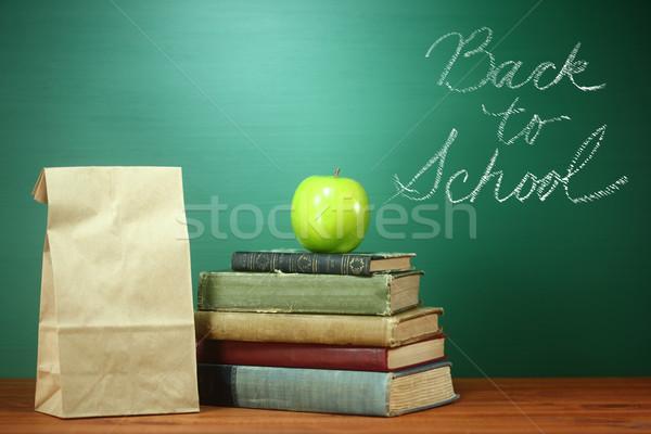Zdjęcia stock: Zielone · powrót · do · szkoły · obraz · drewna · książek · edukacji