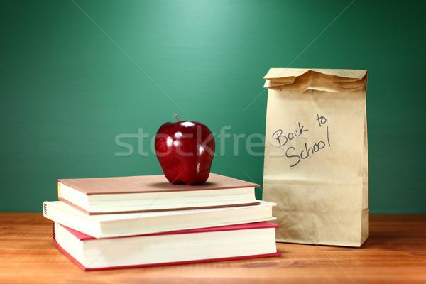 図書 リンゴ ランチ 教師 デスク ストックフォト © tobkatrina