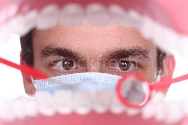 白人 歯科 作業 患者 口 ストックフォト © tobkatrina