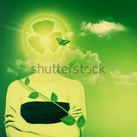 Bio energy and eco protection concept. Female abstract portrait Stock photo © tolokonov