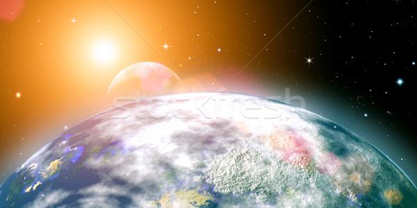 Risins sun over the planet Earth, abstract backgrounds. No NASA  Stock photo © tolokonov
