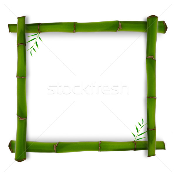 Bamboo shape with shadow over white backgrounds Stock photo © tolokonov