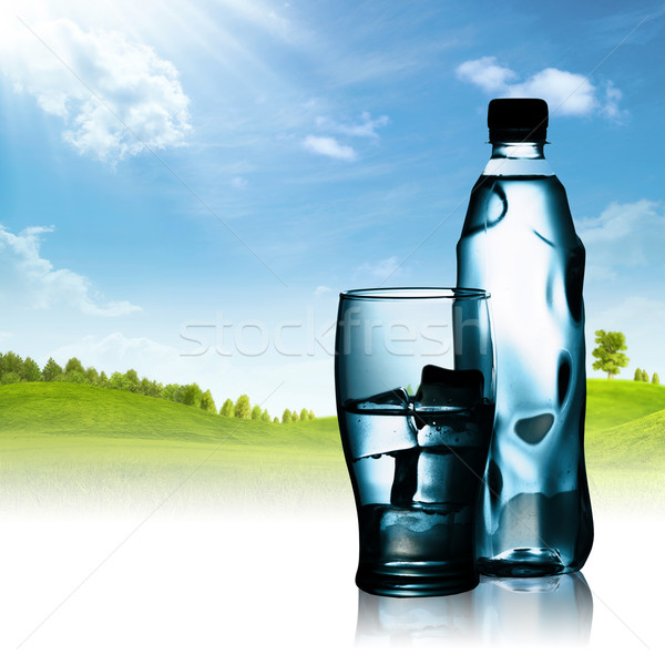 Spring mineral water bottled with glass and ice against natural  Stock photo © tolokonov