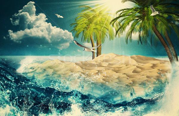 Bellezza Ocean retro post carta vintage Foto d'archivio © tolokonov