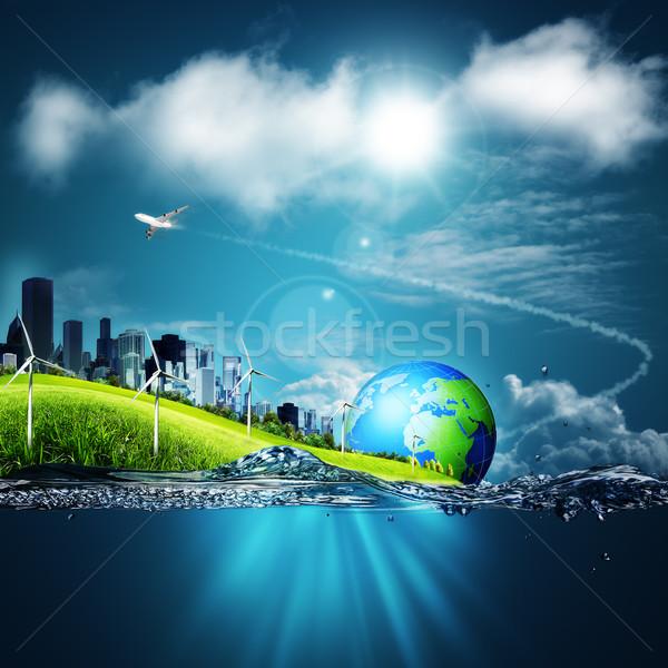 Streszczenie ekosystem środowisk niebieski wody Pokaż Zdjęcia stock © tolokonov