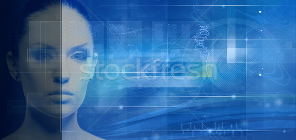 Biotechnology and genetic engineering abstract backgrounds for y Stock photo © tolokonov