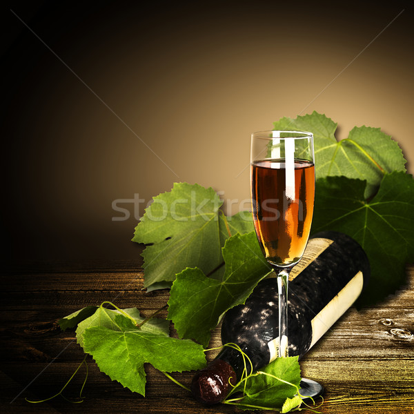 Abstract wine-making backgrounds with vine and bottle Stock photo © tolokonov