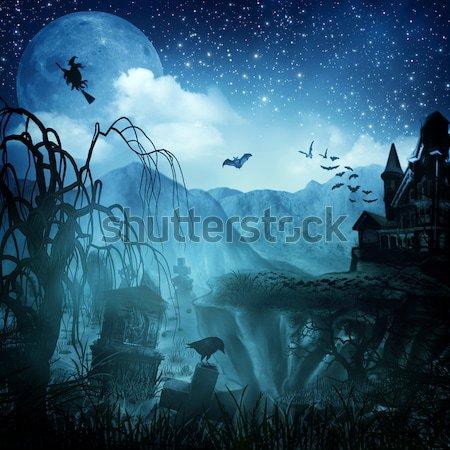 Abstract halloween achtergronden ontwerp boom hout Stockfoto © tolokonov