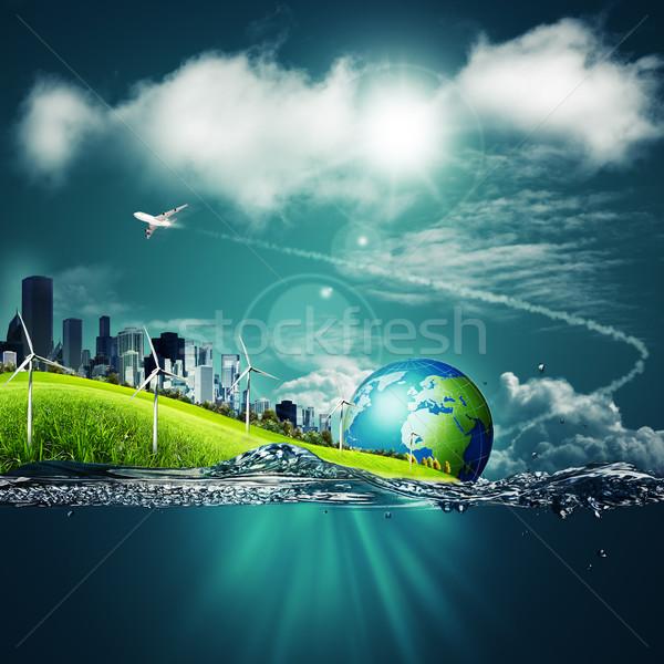 Streszczenie ekosystem środowisk niebieski niebo wody Zdjęcia stock © tolokonov