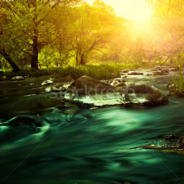 Stock photo: Sunset on the mountain river, environmental backgrounds