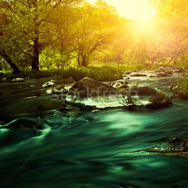 ストックフォト: 日没 · 山 · 川 · 環境の · 背景 · ツリー