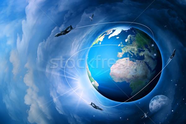 Bleu terre résumé techno environnement Photo stock © tolokonov