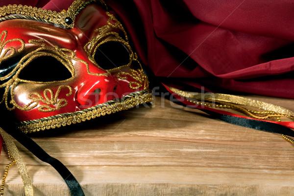 Csendélet velencei karnevál maszk piros színpad Stock fotó © tolokonov