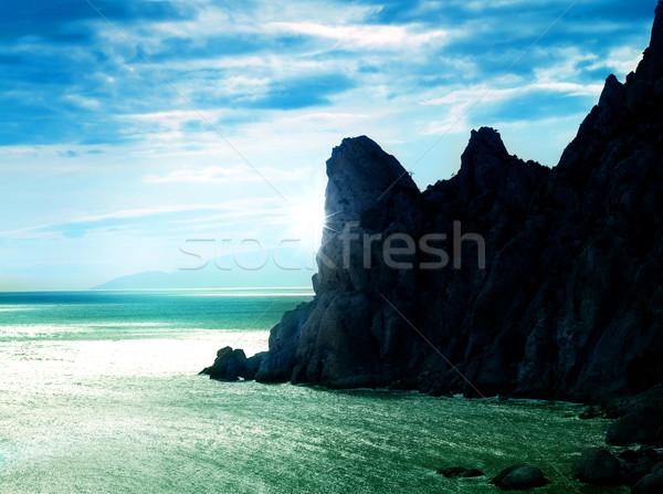 Deniz soyut manzara bahar güneş doğa Stok fotoğraf © tolokonov