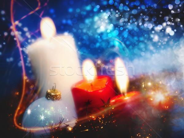 Natal fundos velas grinalda projeto festa Foto stock © tolokonov