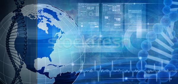 Biotechnologie genetisch engineering abstract achtergronden wereldbol Stockfoto © tolokonov