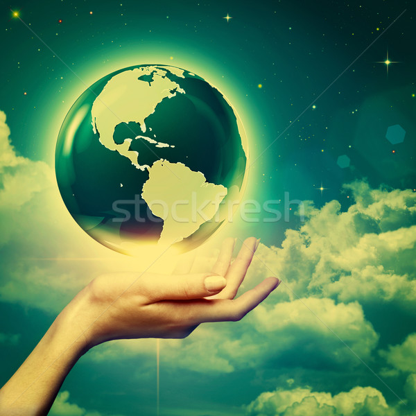 Whole world in your hands, environmental backgrounds Stock photo © tolokonov