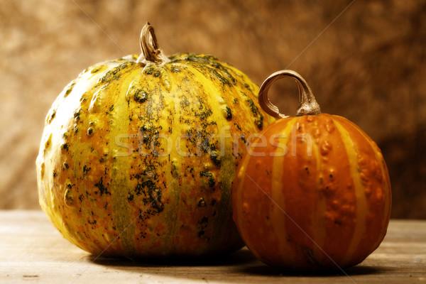 pair of pumpkin over wooden desk, cousine still life Stock photo © tolokonov