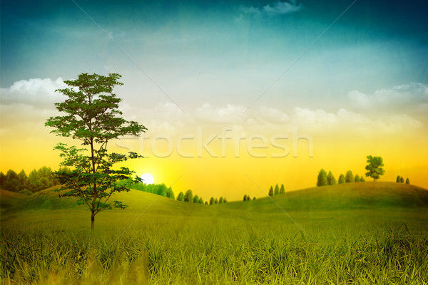 Grungy Nature. Abstract natural backgrounds with old paper added Stock photo © tolokonov