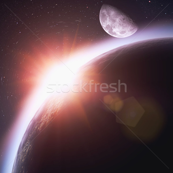 Rising sun over the planet Earth, abstract backgrounds. No NASA  Stock photo © tolokonov