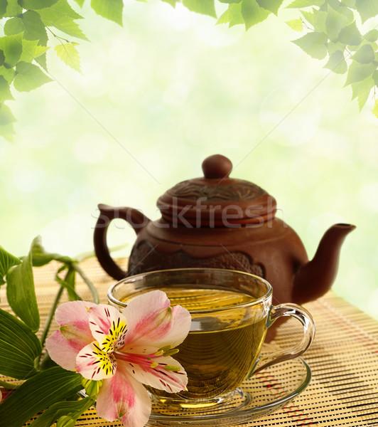 чай церемония зеленый чай цветок чайник воды Сток-фото © tolokonov