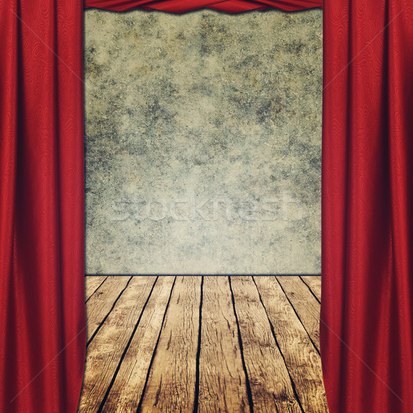theatrical grungy backgrounds with red curtains Stock photo © tolokonov