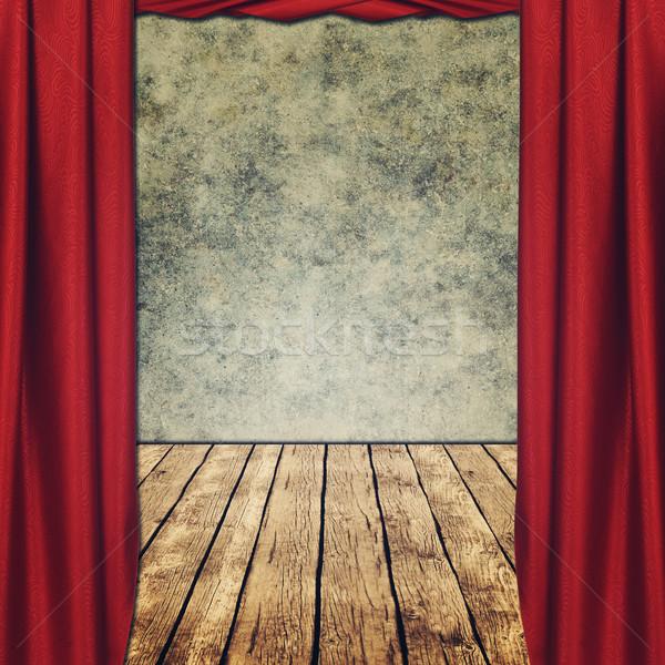 Színpadi koszos hátterek piros függönyök asztal Stock fotó © tolokonov