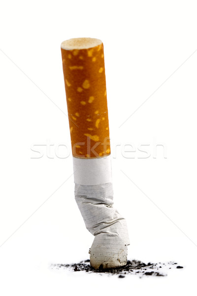 Sigara popo kül beyaz arka plan duman Stok fotoğraf © tolokonov