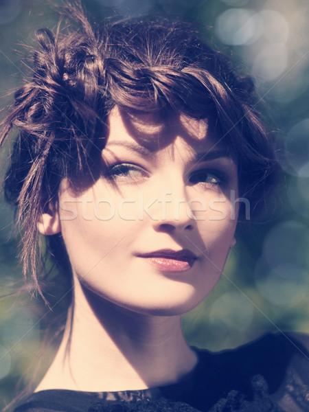 Instagram vintage feminino retrato beleza bokeh Foto stock © tolokonov
