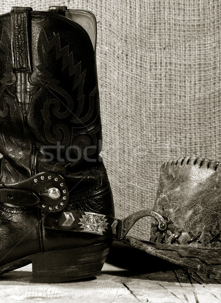 Western cowboy still life on the desk Stock photo © tolokonov