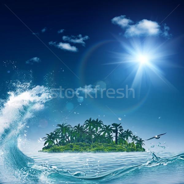 Alone island in ocean, abstract environmental backgrounds Stock photo © tolokonov