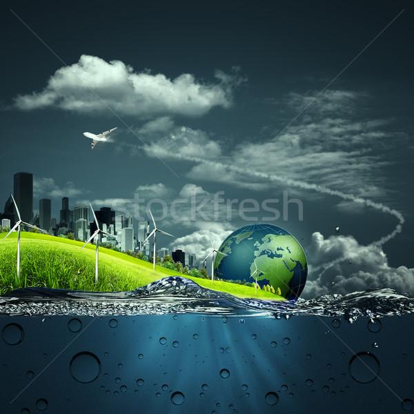 Absztrakt ökoszisztéma hátterek terv égbolt földgömb Stock fotó © tolokonov