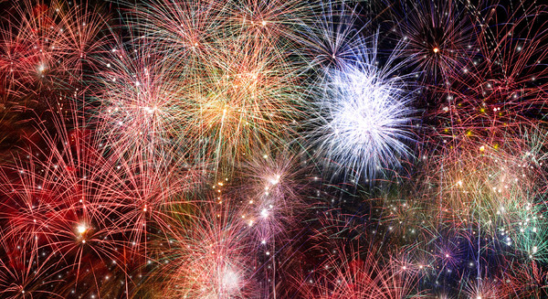 Abstract fire works backgrounds. Collage from real fireworks fes Stock photo © tolokonov
