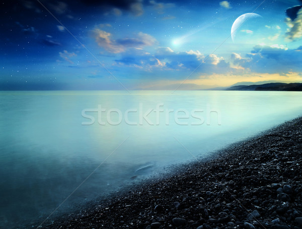 Comet. Abstract natural landscape on the sea coast Stock photo © tolokonov