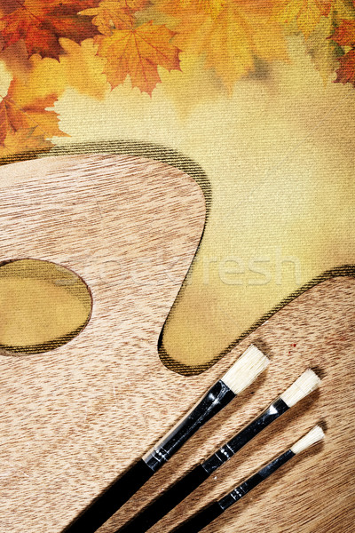 Autumnal abstract still life over canvas background for your des Stock photo © tolokonov