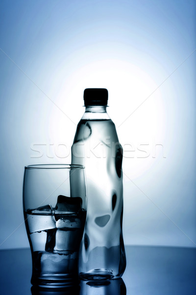 Glas koud mineraalwater ijs plastic fles Stockfoto © tolokonov