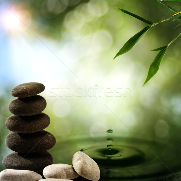 Asian eco backgrounds with bamboo and water splash Stock photo © tolokonov