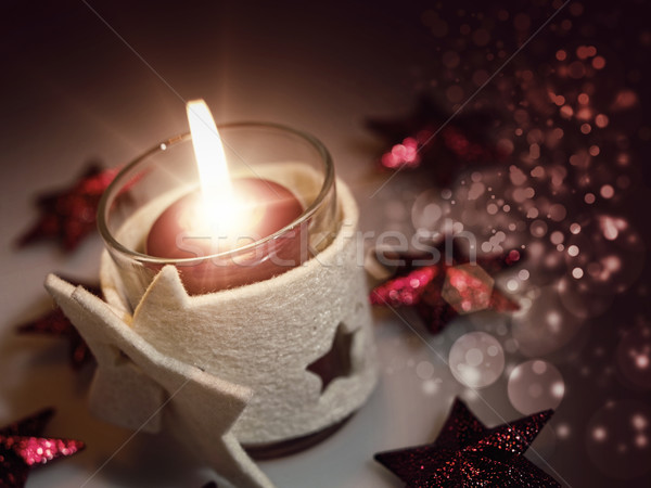 Christmas still life with candle and beauty bokeh Stock photo © tolokonov