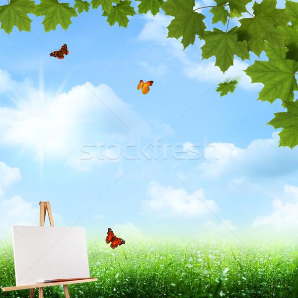 Abstract arte sfondi blu cielo erba Foto d'archivio © tolokonov