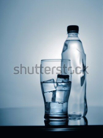 Szkła wody lodu butelki shot 30 lat Zdjęcia stock © tolokonov