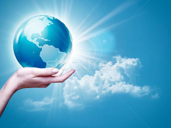 Сток-фото: женщины · руки · земле · мира · синий