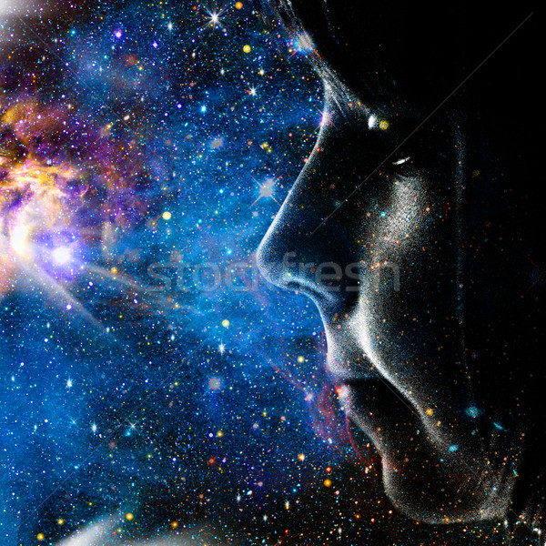 Child of the Universe. Abstract female portrait Stock photo © tolokonov