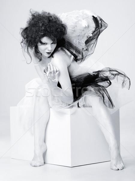 Rejtély felnőtt nő portré kulcs halloween absztrakt Stock fotó © tolokonov