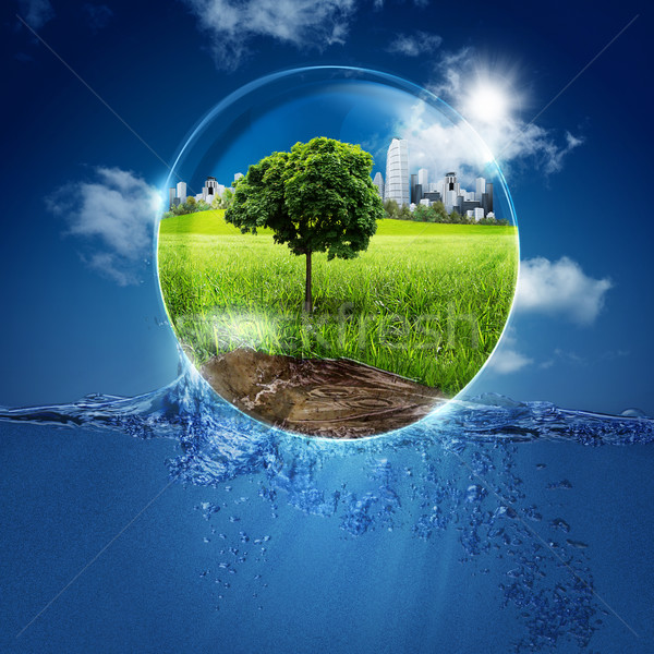 Stock fotó: Zöld · világ · buborék · absztrakt · természetes · hátterek