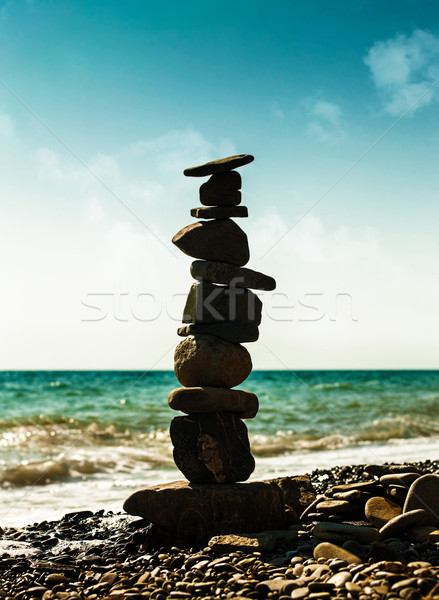 Pebble tower, abstract marine still life for your design Stock photo © tolokonov