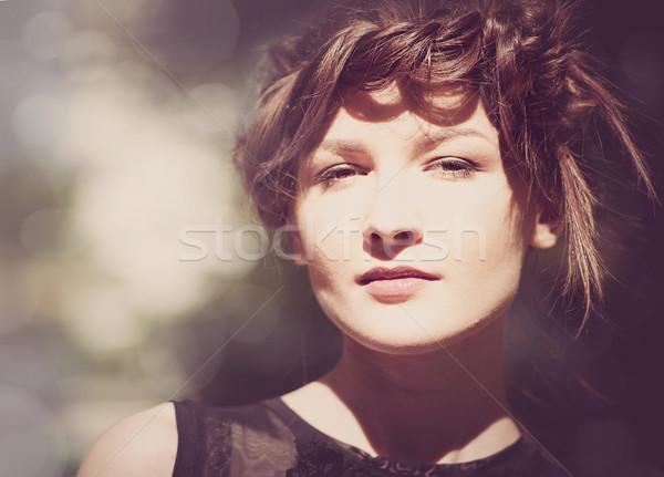 セピア ヴィンテージ 女性 肖像 美 ぼけ味 ストックフォト © tolokonov