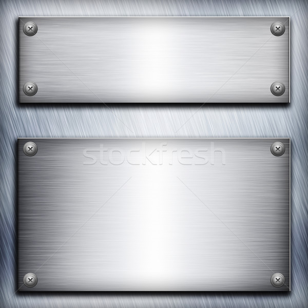 Brushed steel plate over aluminium metall background for your de Stock photo © tolokonov